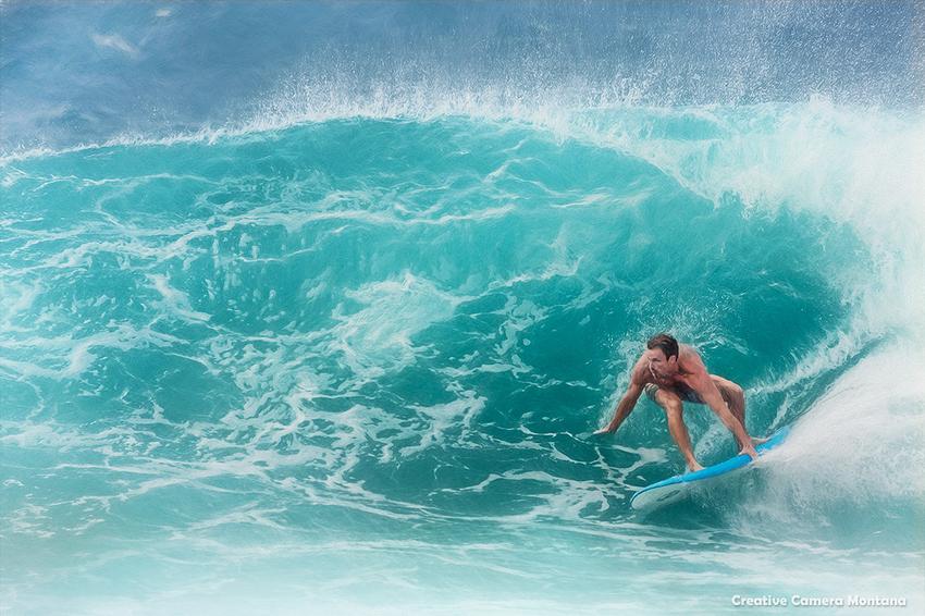 Surfer At Shipwreck Beach Poipu Kauai Hawaii